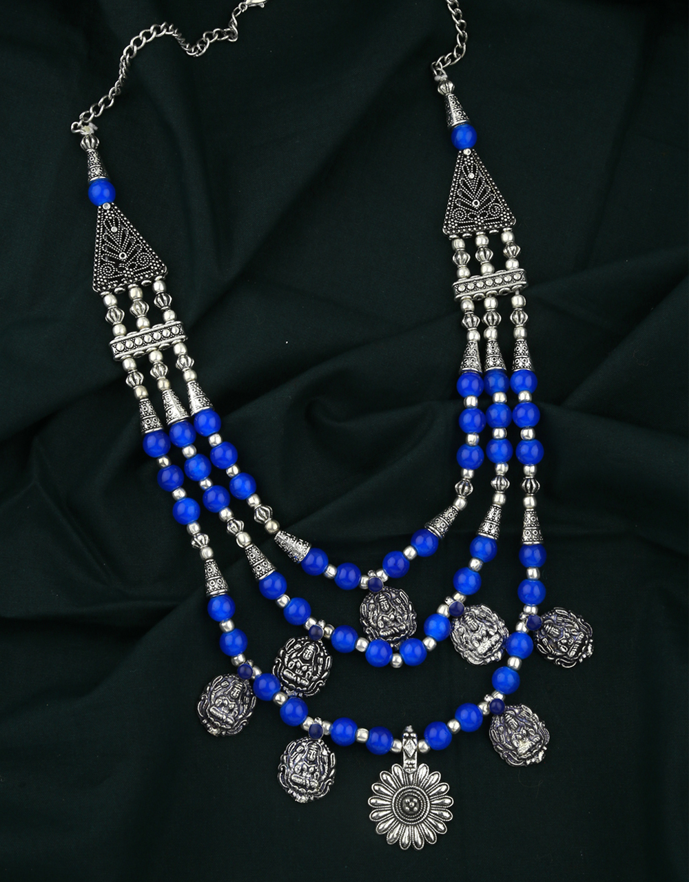 Blue Colour Three Layers Fancy Oxidised Necklace for Women