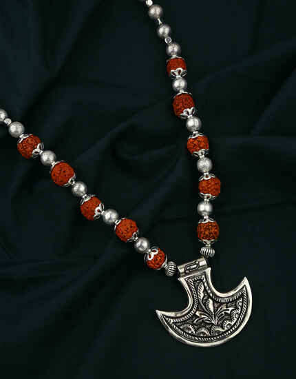 Silver Oxidised Finished Rudraksh Necklace for Women