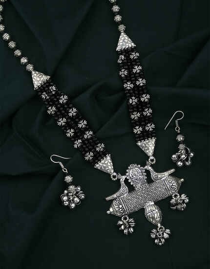 Silver Oxidised Finished Beaded Necklace for Women