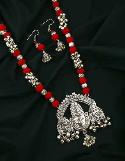 Silver Oxidised Finished Temple Design Beaded Necklace for Women