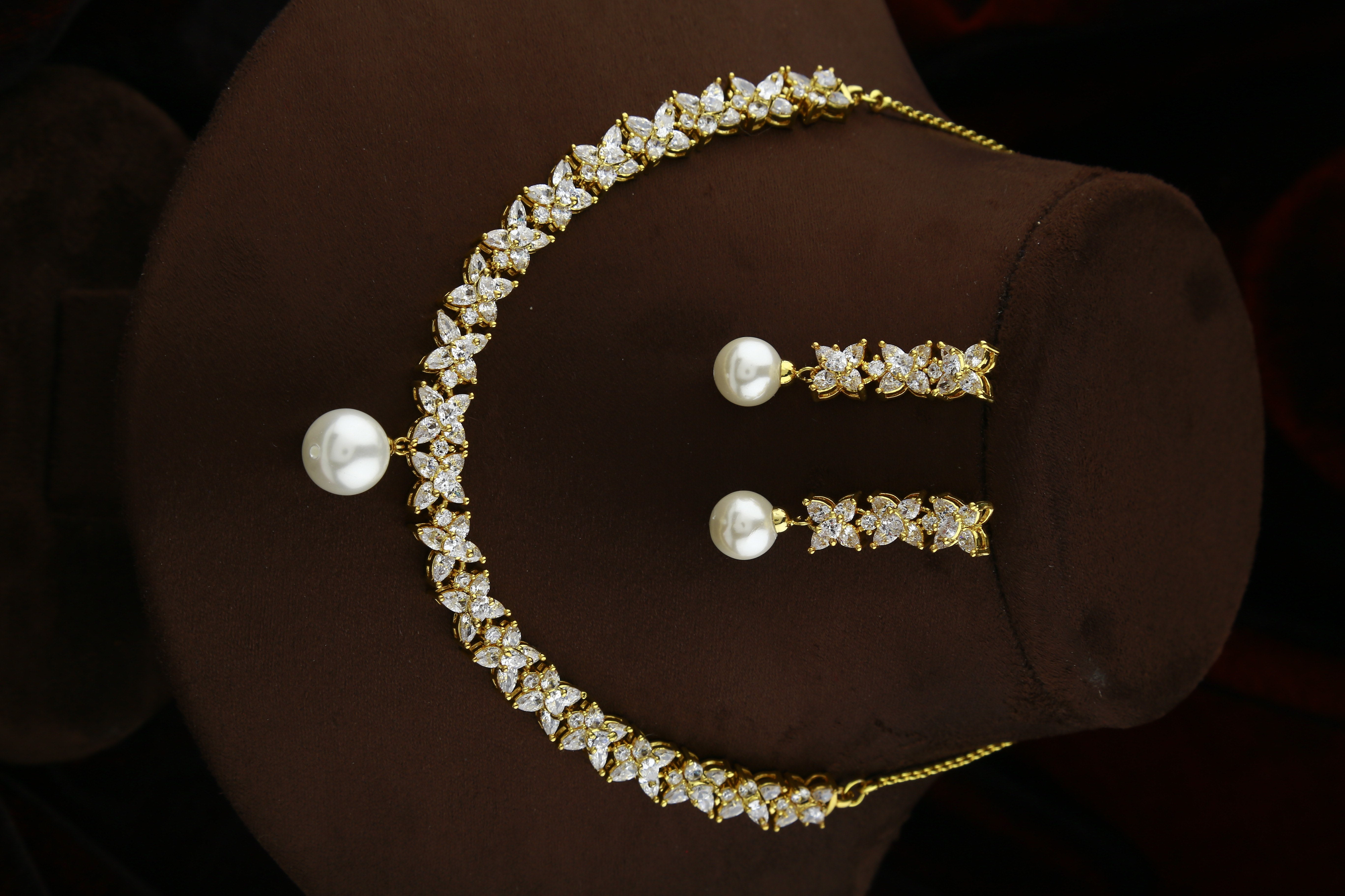 Floral Design Golden Finish American Diamond Necklace for women