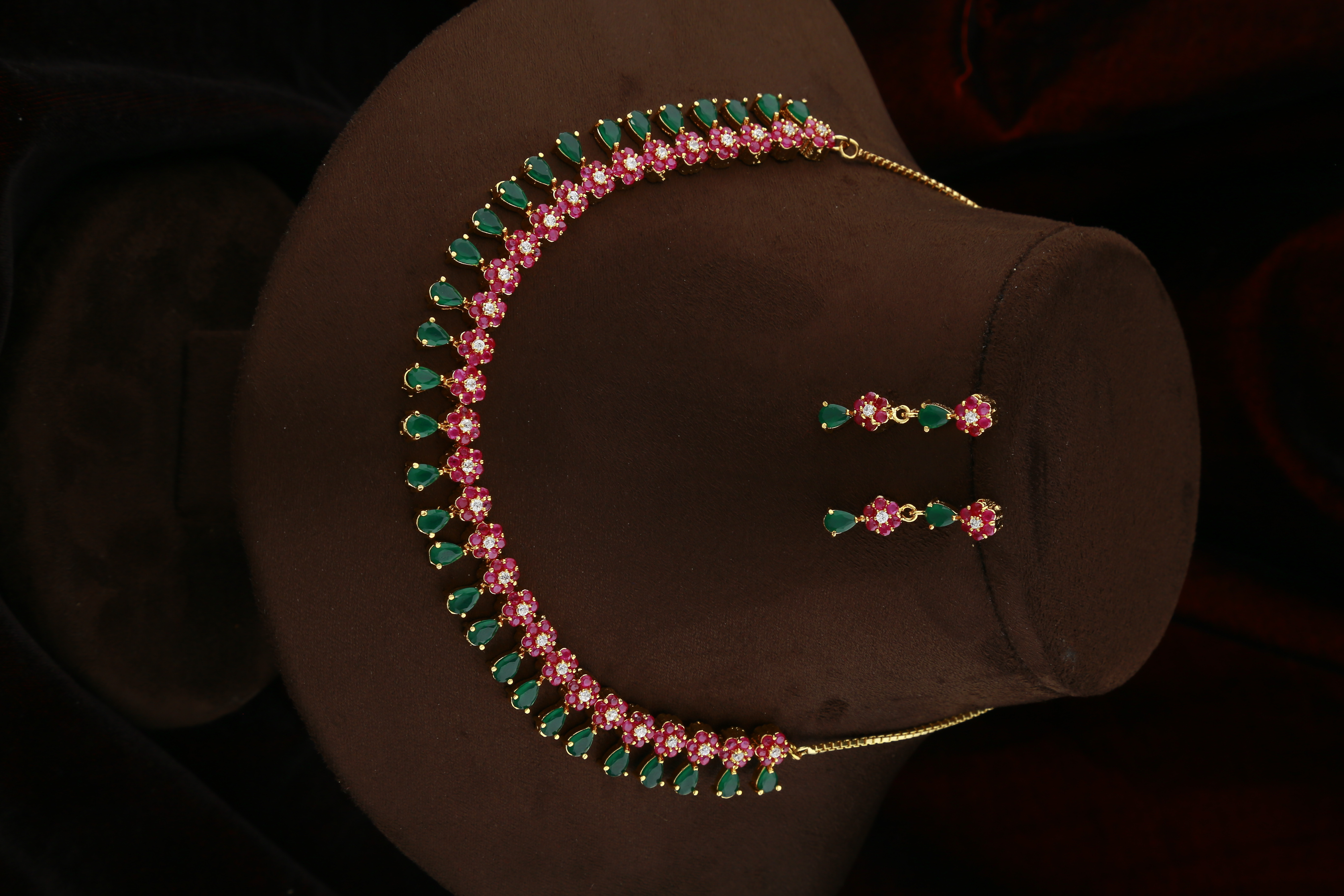 Pink and Green Colour Floral Design American Diamond Necklace for Women