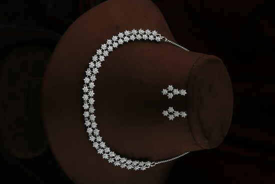 Classy Silver Finish Floral Design American Diamond Necklace for Women