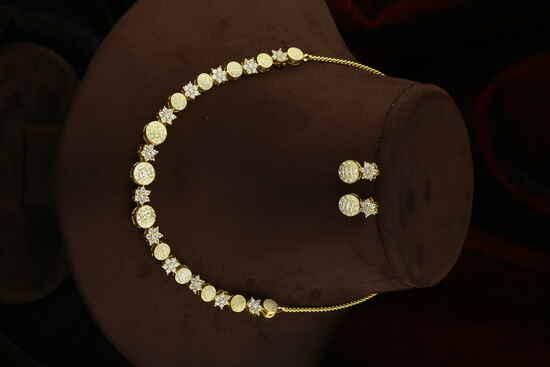 Mint Mina Work Diamond Studded American Diamond Necklace