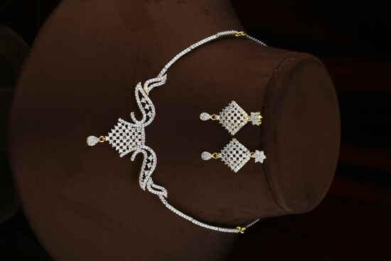 Dazzling Silver Finish American Diamond Necklace