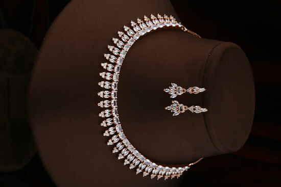 Dazzling Rose Gold Finish American Diamond Necklace