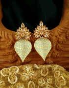 Classy Sky Blue Colour Golden Finish Traditional Earrings for Women