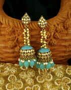 Dazzling Sky Blue Colour Golden Finish Traditional Earrings for Women