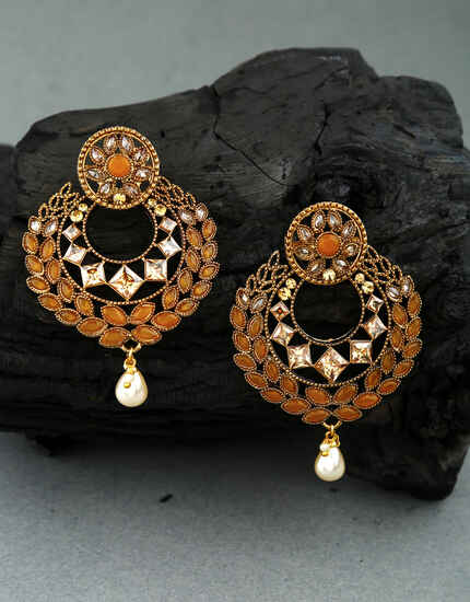 Classy Orange Colour LCT Stone Studded Traditional Earrings for Women