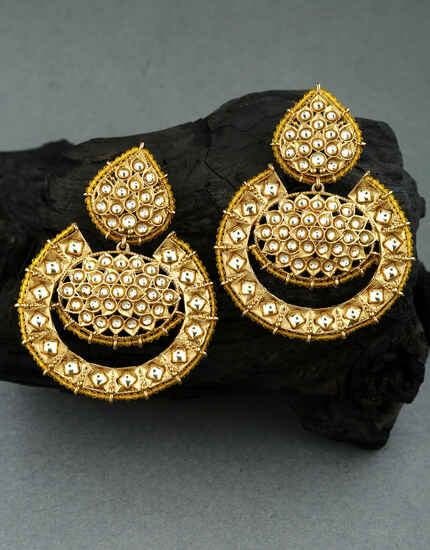 Yellow Colour Golden Finish Stone Studded Traditional Earrings for Women