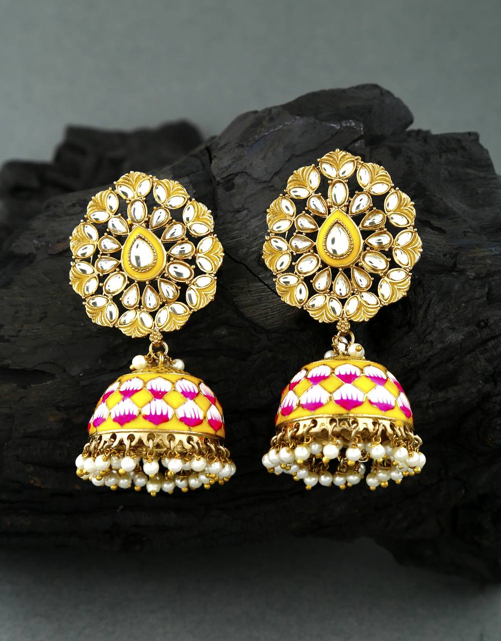 Very Classy Yellow Colour Encrusted With Kunadan Traditional Earrings