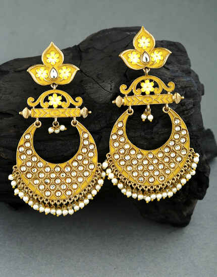 Unique Yellow Colour Embedded with Stone Traditional Earrings