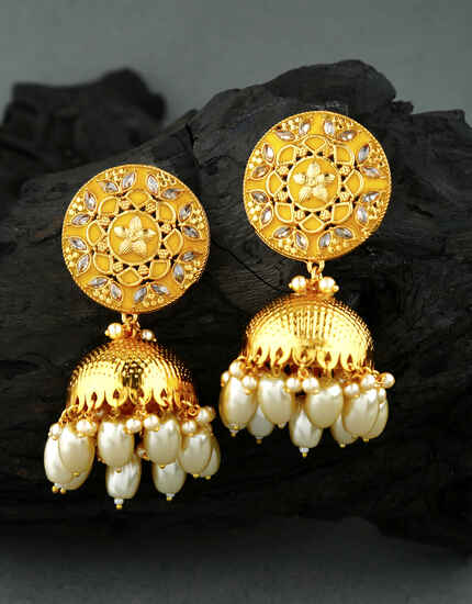 Simple and Sober Yellow Colour Traditional Earrings for Women