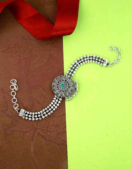 Fancy Silver Oxidised Finished Bajuband for Women