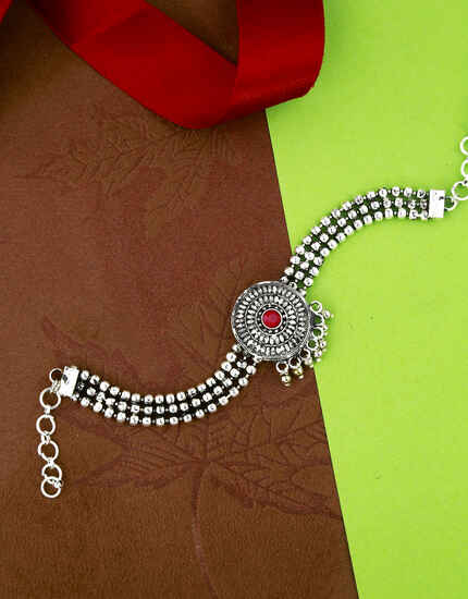 Silver Oxidised Finished Adorable Bajuband for Women