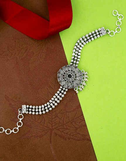 Beautiful Silver Oxidised Finished Bajuband for Women