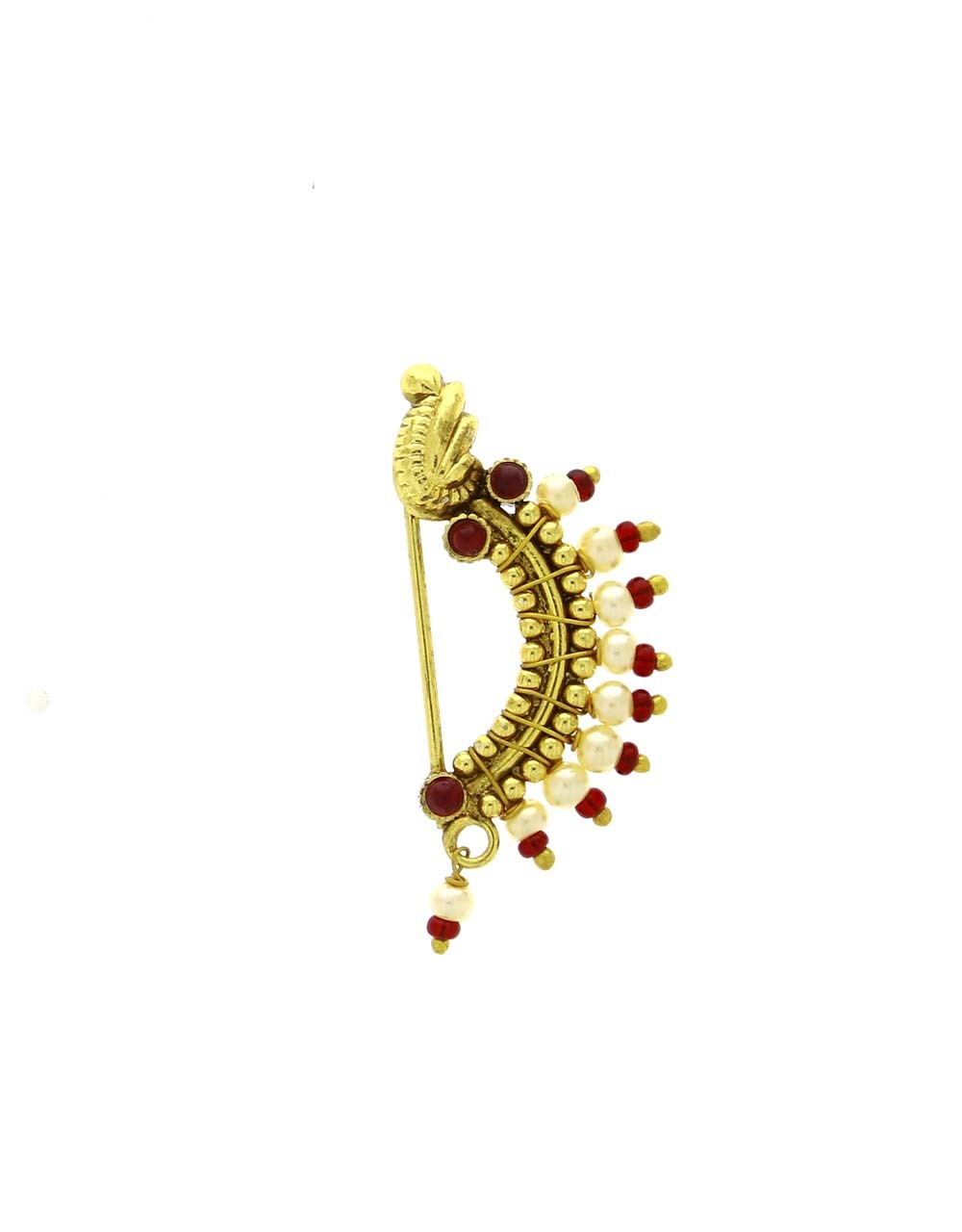 Amazing  Red Colour Golden Finish Press/Clip On Nath