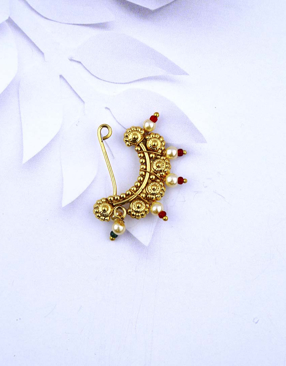 Simple and Sober Golden Finish Encrusted with Moti Maharashtrian Clip on Nath