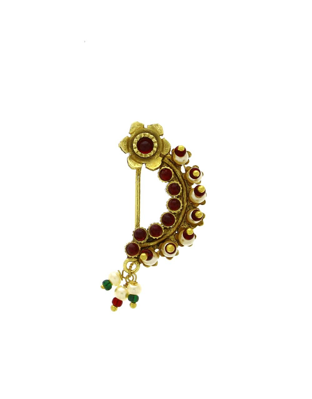 Fancy Golden Finish Red Colour Embedded with Moti Maharashtrian Nath