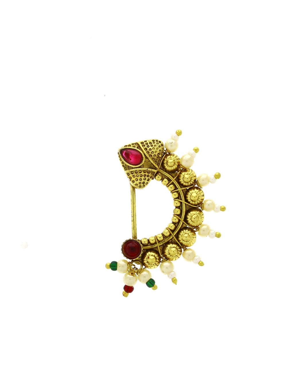 Fancy Golden Finish Pink Colour Embedded with Moti Maharashtrian Nath