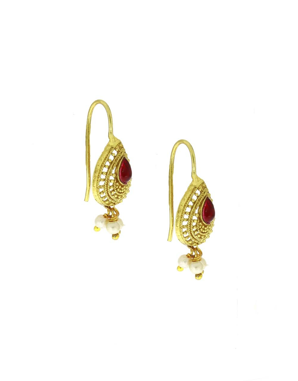 Pink Colour Droplet Shape Adorable Bugadi Earrings for Women