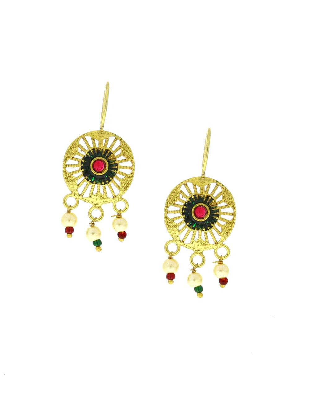 Gold Plated Multi Colour Adorable Bugadi  Earrings for Women