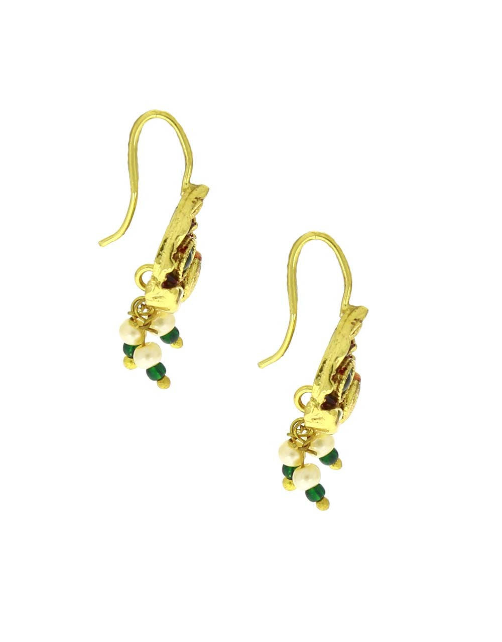 Red-Green Colour Leaf Shape Adorable Bugadi Earrings for Women