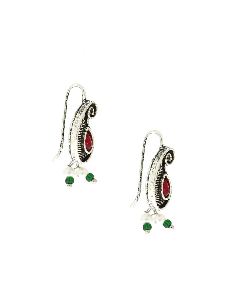Silver Oxidised Finished Maroon Stone Studded Bugadi Earrings for Women