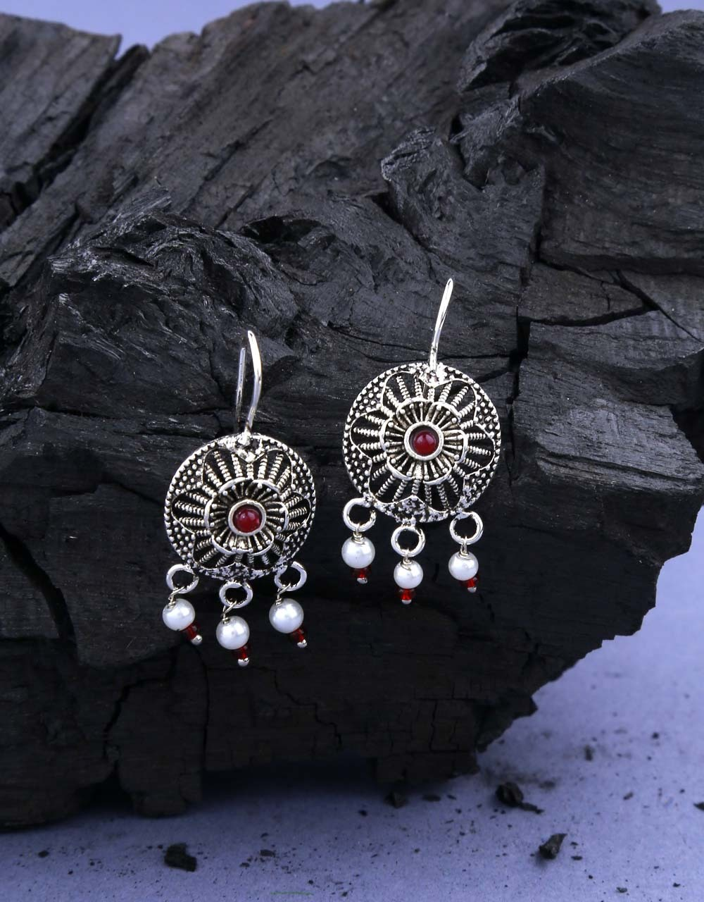 Silver Oxidised Finished Round Shape Bugadi Earrings for Women