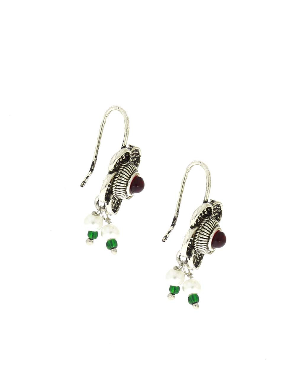 Beautiful Floral Design Oxidised Bugadi Earrings Styled with Red Colour Stone