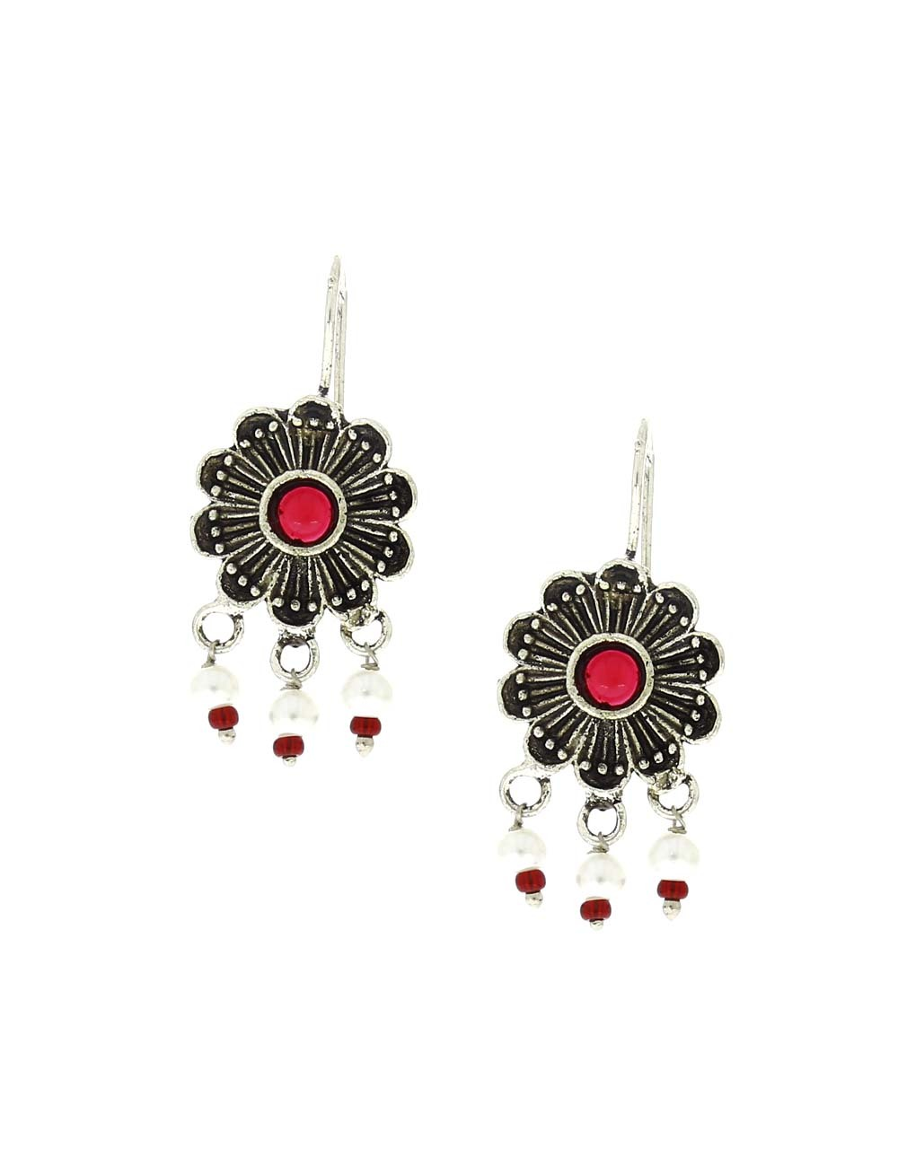 Oxidised Floral Design Appealing Bugadi Earrings for Women