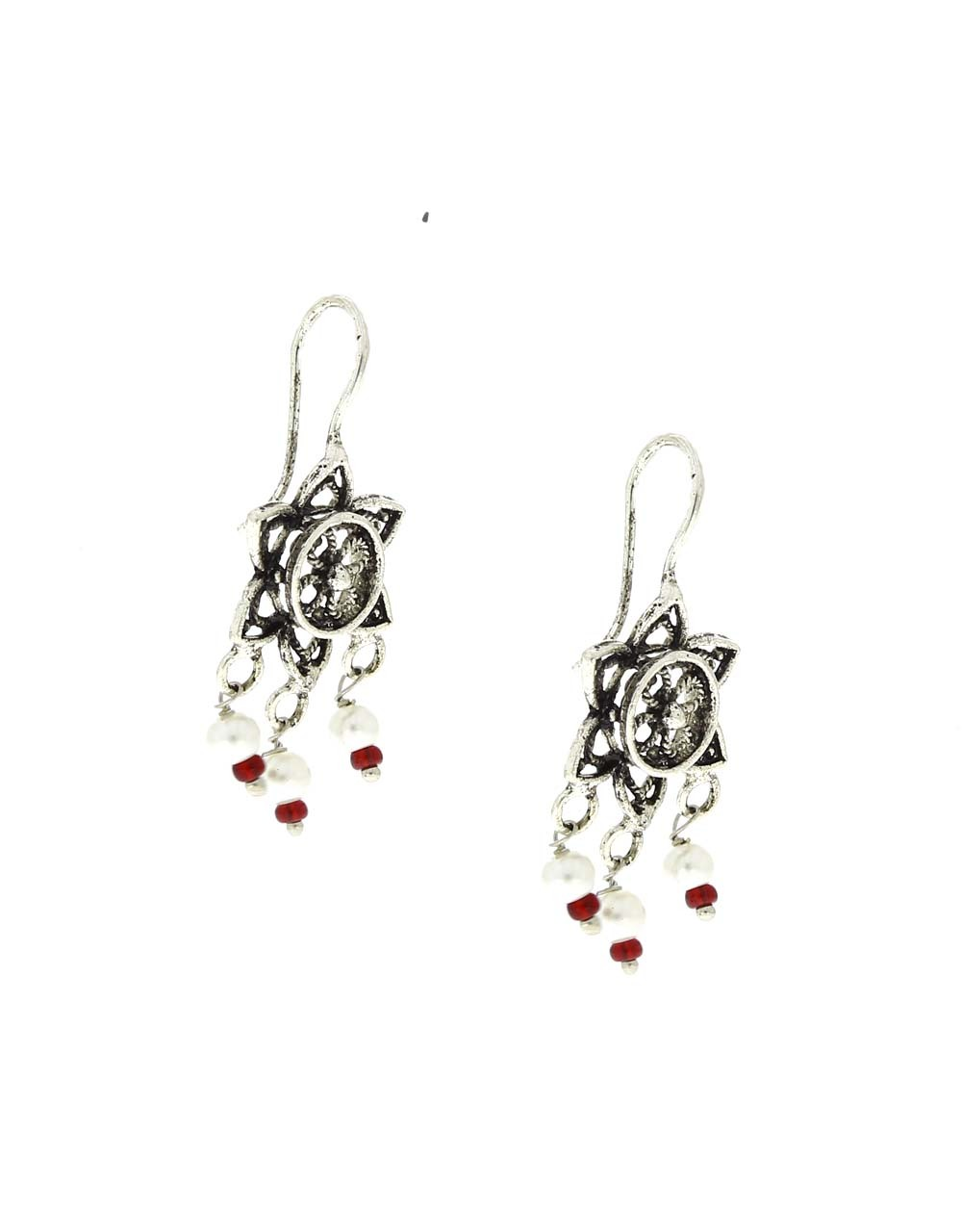 Floral Design Appealing Oxidised Bugadi Earrings for Women