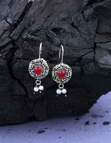 Beautiful Silver Oxidised Finished Bugadi Earrings for Women