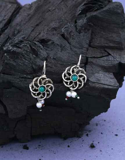 Floral Design Green Colour Stylish Bugadi Earrings for Women