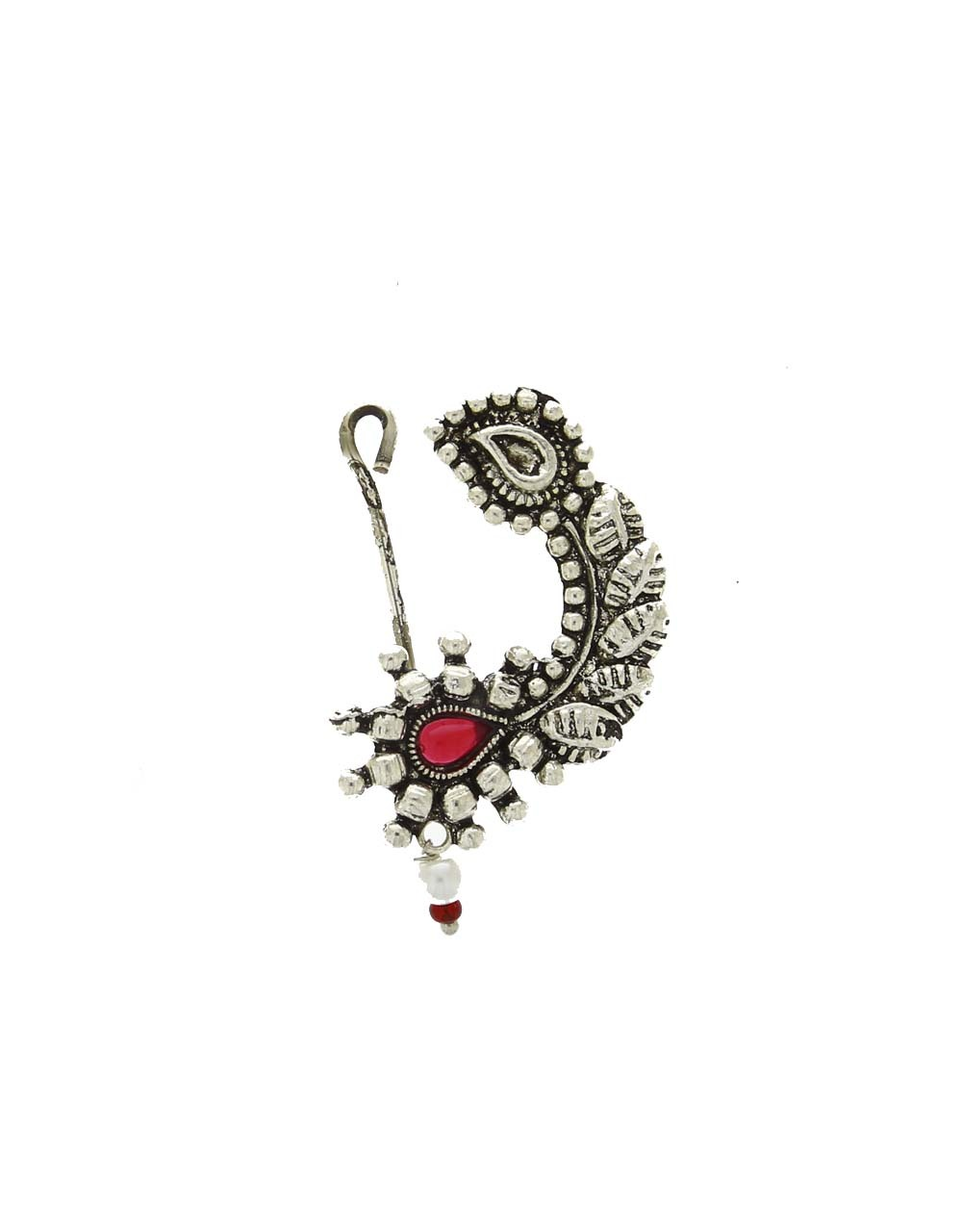 Silver Finish Pink Colour Oxidised Nath for Women
