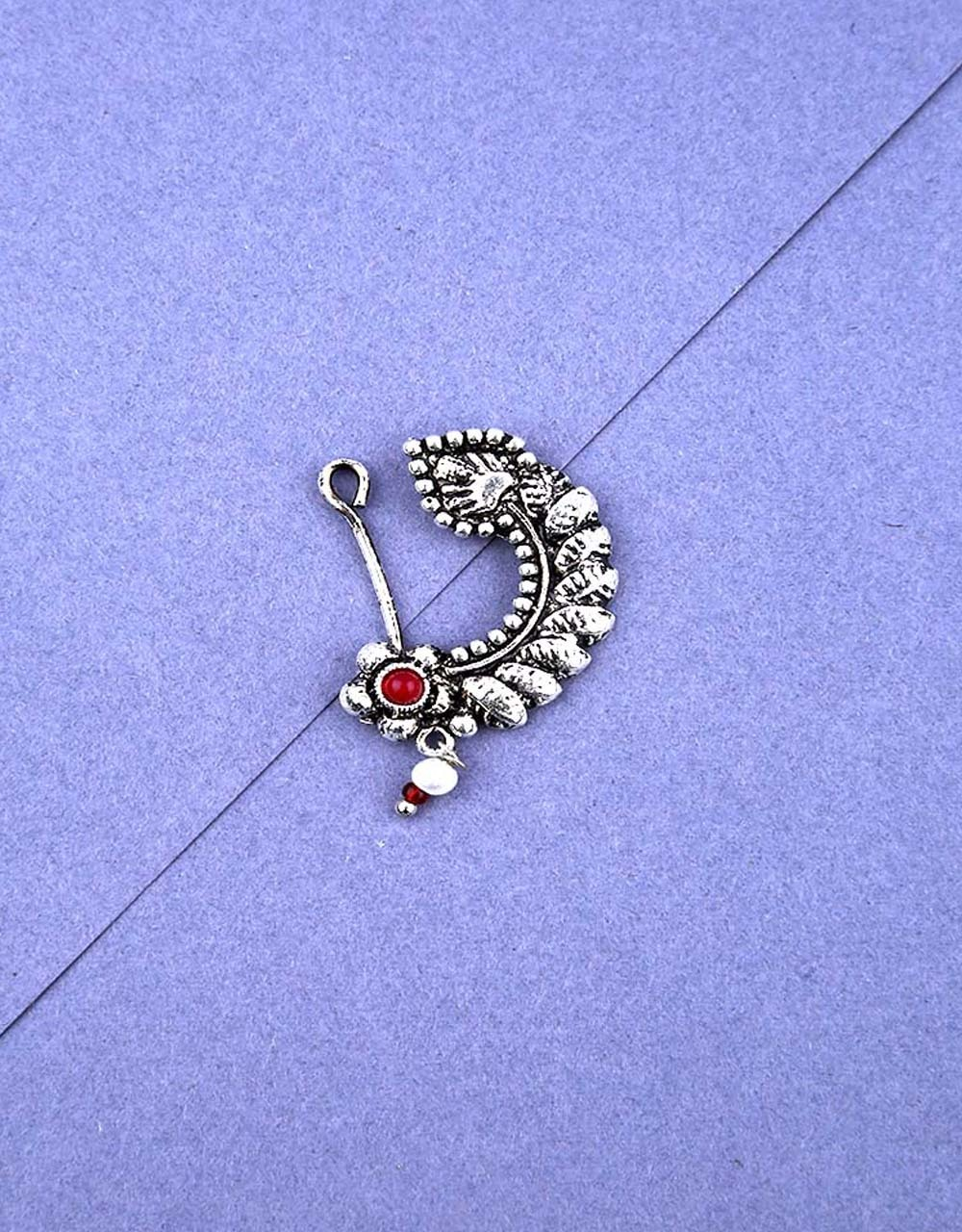 Fancy Pink Colour Silver Finish Oxidised Nath Jewellery