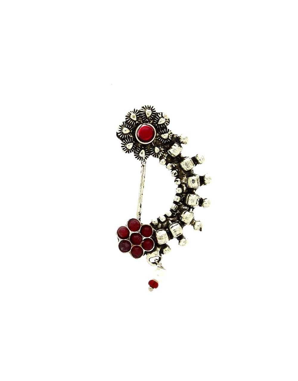 Floral Design Pink Colour Silver Finish Oxidised Nath for Women Stylish