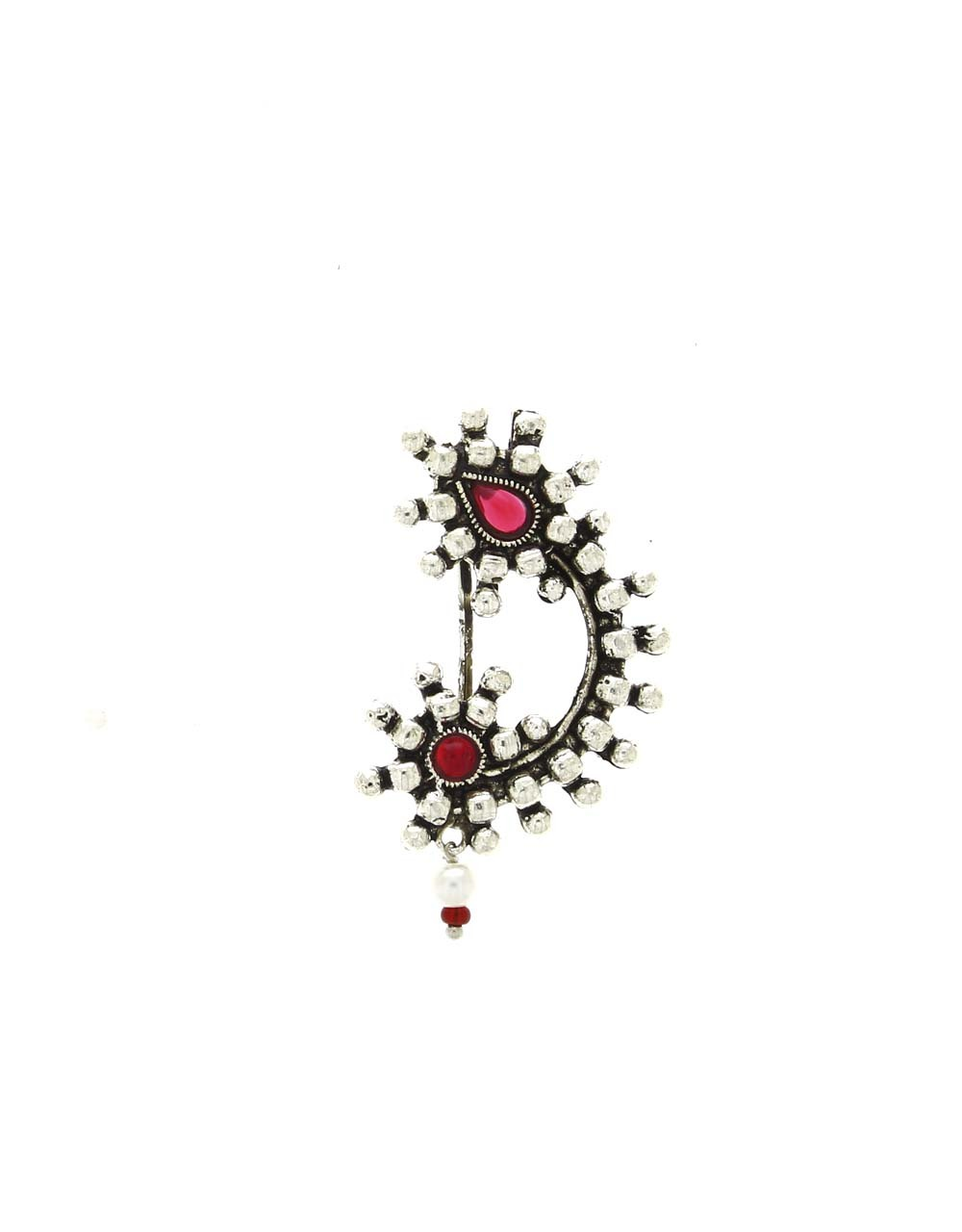 Adorable Pink Colour Silver Finish Oxidised Nath for Women Stylish
