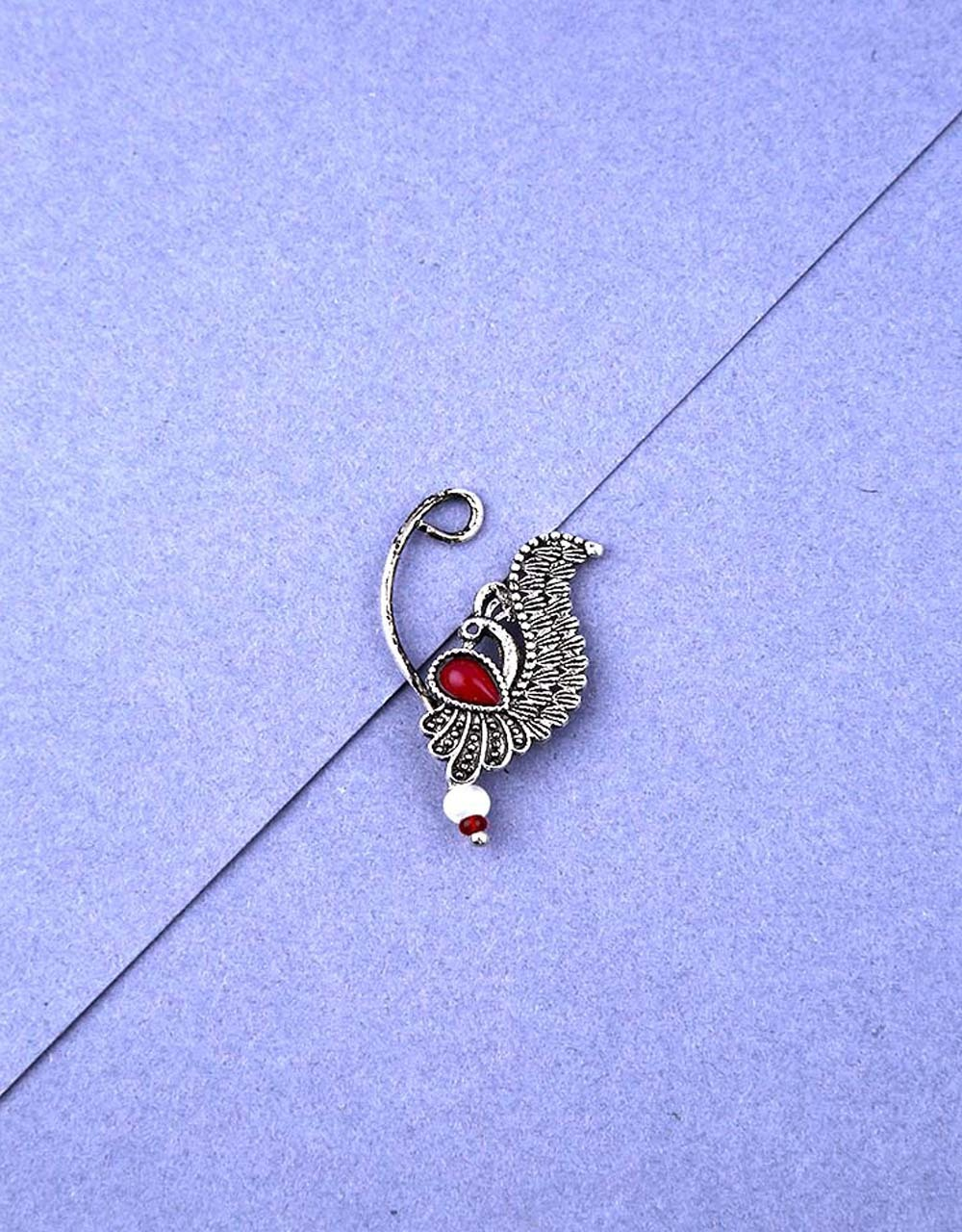 Peacock Inspired Silver Finish Oxidised Nath for Women Stylish