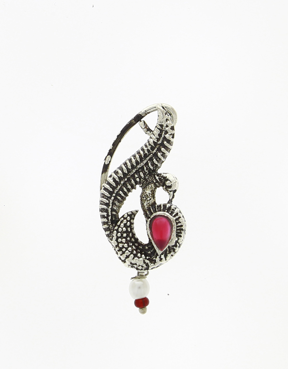 Adorable Peacock Inspired Silver Finish Oxidised Nath