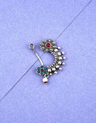 Floral Design Pink and Green Colour Silver Finish Oxidised Nath for Women Stylish