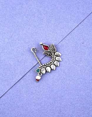 Classy Multi-Colour Silver Finish Leaf Design Oxidised Nath Jewellery
