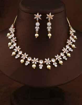 Floral Design Rose Gold Finish Diamond Necklace