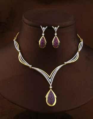 Antique Pink Colour Golden Finish American Diamond Necklace Set