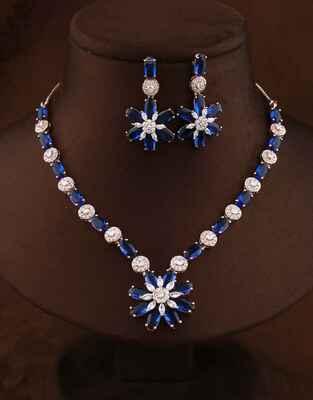 Exclusive Blue Colour Rose Gold Finish Diamond Necklace