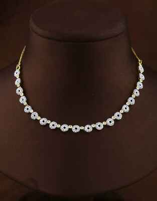 Delicate Golden Finish Diamond Necklace Set for Women