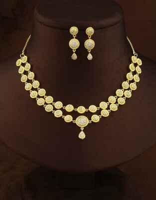 Adorable Golden Finish American Diamond Necklace Set