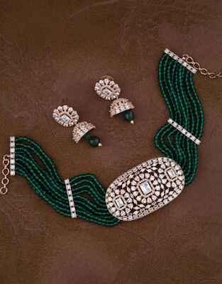 Classy Bottle Green Colour Rose Gold Finish American Diamond Choker Necklace