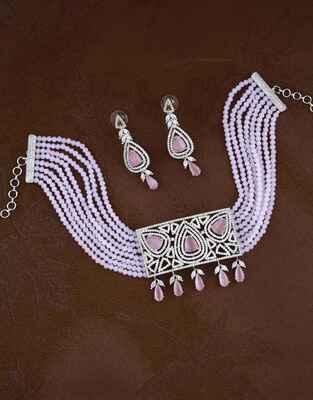 Purple Colour Square Design Pendant American Diamond Necklace Set