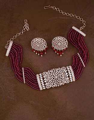 Fancy Pink Colour American Diamond Choker Necklace Set
